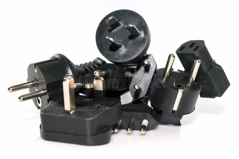 Various electric plugs stock photography
