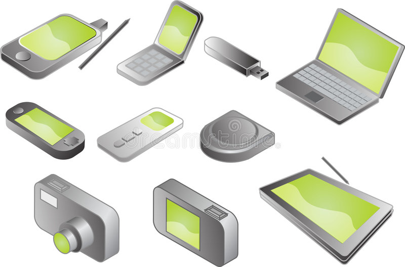 Various electronic gadgets stock illustration