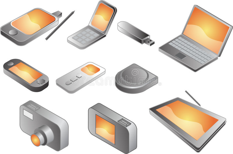 Various electronic gadgets, stock illustration