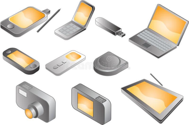 Various electronic gadgets, illustration stock illustration