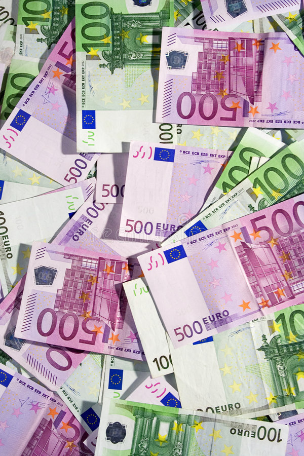 Various Euro Banknotes (Top View) stock photography