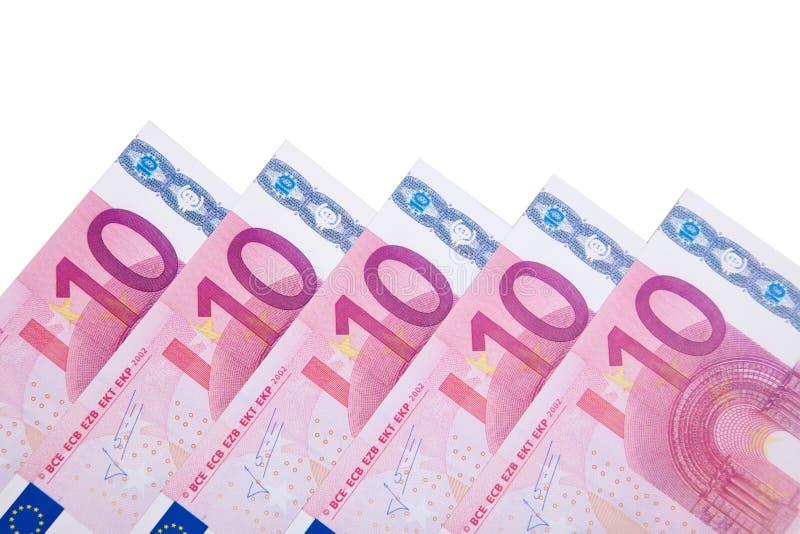 Various 10 euro notes. All on white background royalty free stock photos