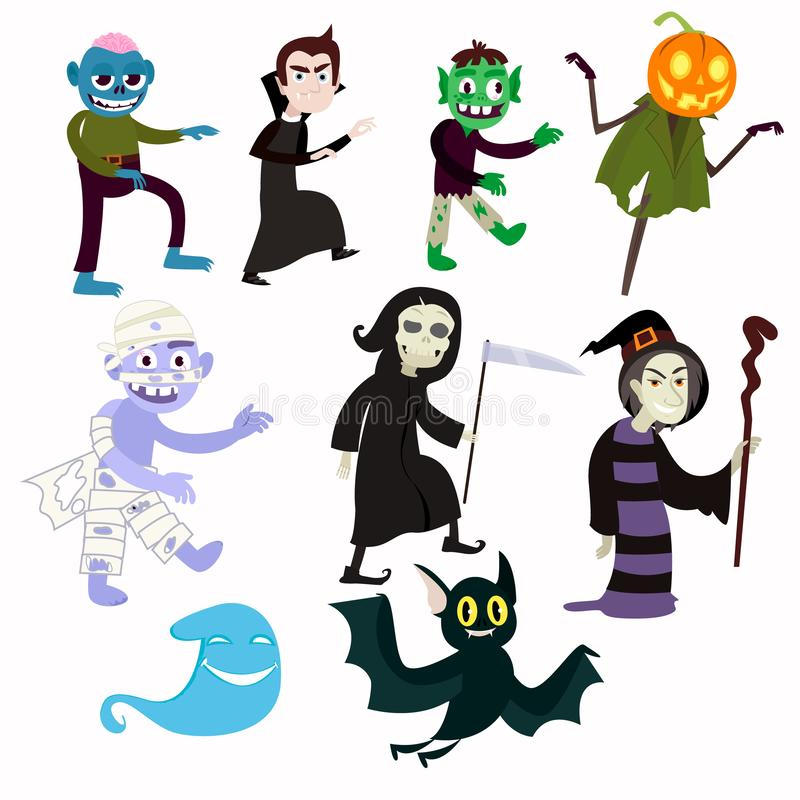 Various evil pesonazhie allowing fun to celebrate the holiday. Zombies, a pumpkin instead of a head, a bat, a vampire and others. stock illustration