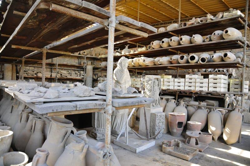 Various excavated Pompeiian Artefacts stock image