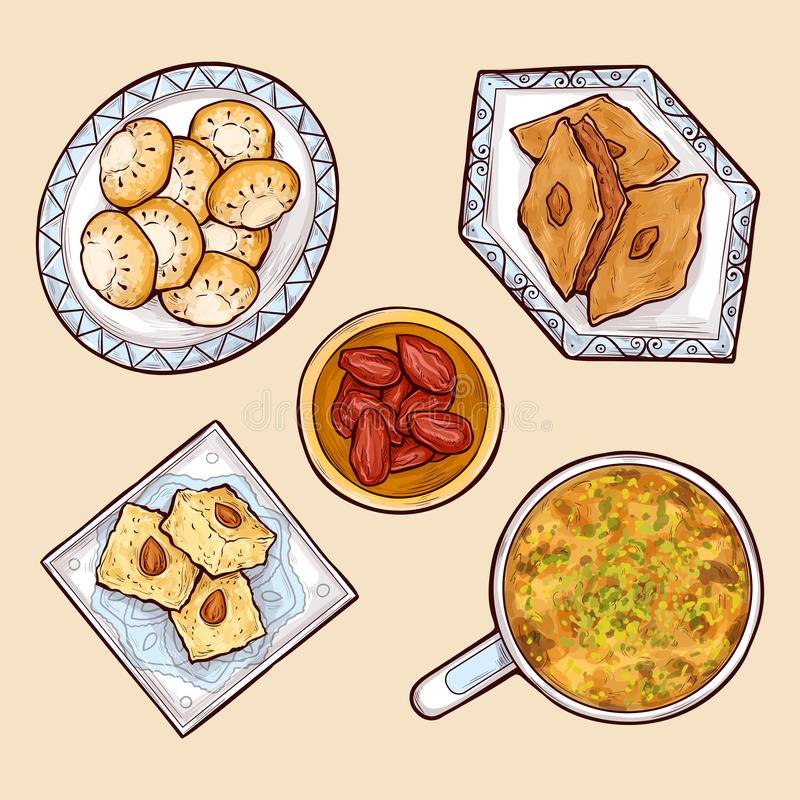Various oriental sweets cartoon vector collection royalty free illustration