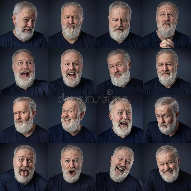 Various, expression changes of the same face stock image