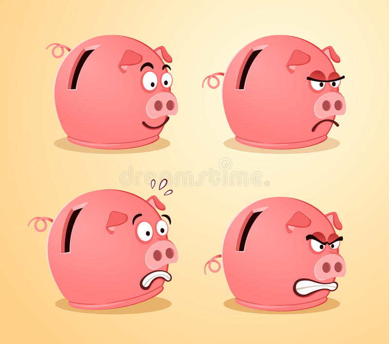 Download Various Expression Of Piggybank Stock Vector - Illustration: 38126680