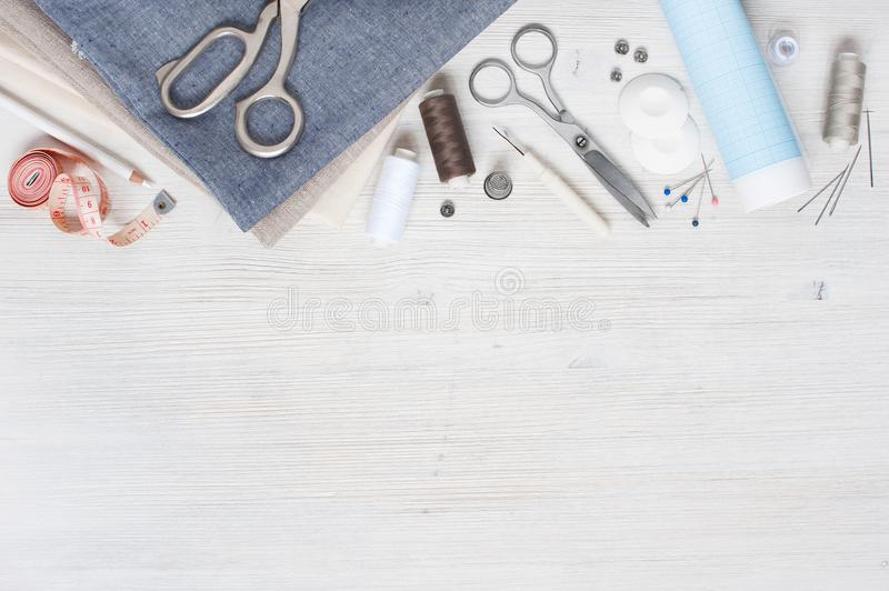Various fabric and sewing tools royalty free stock images
