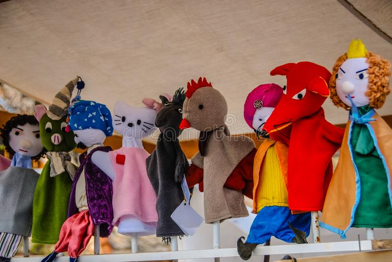 Various Felt Hand Puppets on sale at a Easter market in Hungary. Hand Puppets on sale at a Easter market in Hungary royalty free stock photography