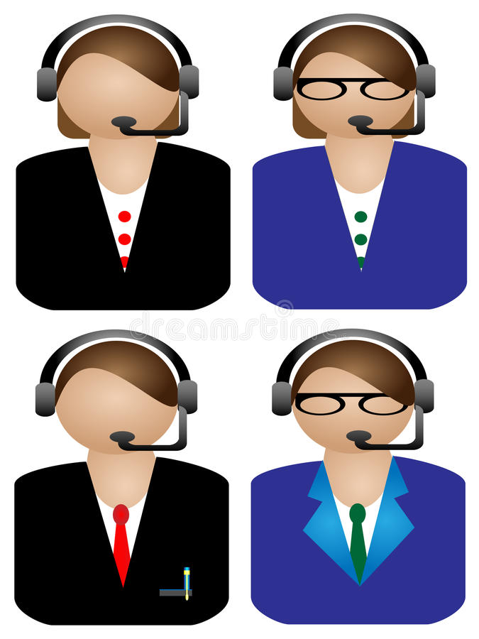 Download Various Female Call Operator On White Background Stock Illustration - Image: 23393662