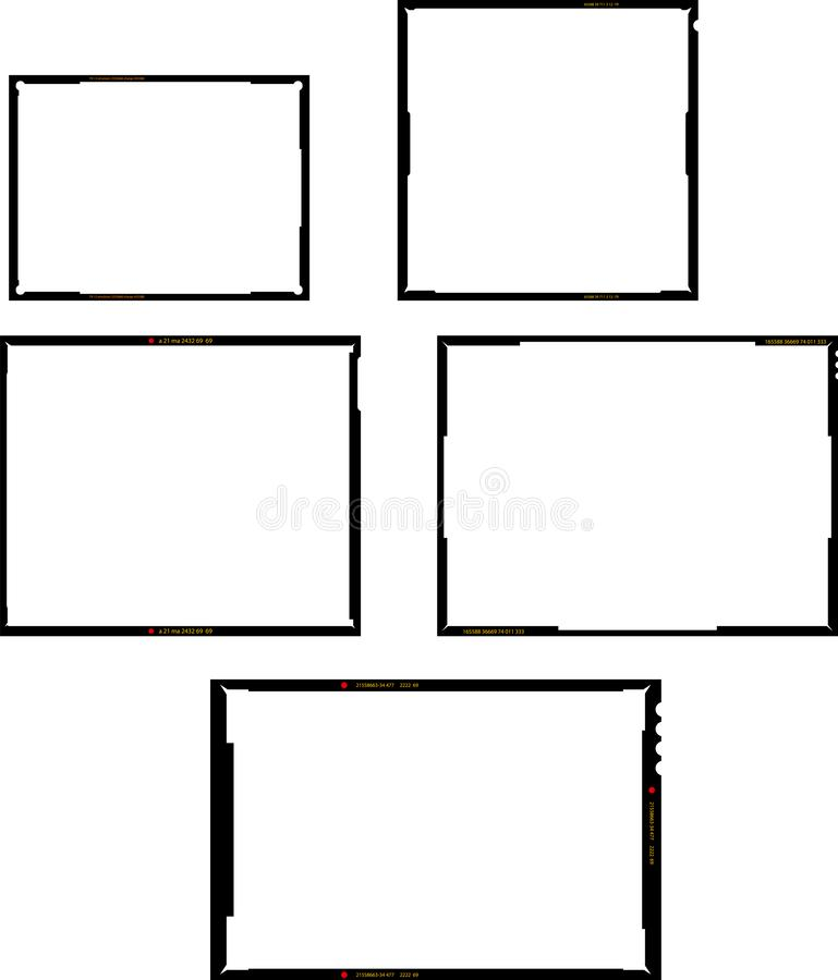 Various film sheet negative formats, set of empty picture frames, vintage photographs, vector stock photo