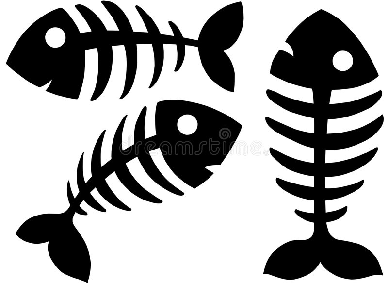 Various fishbones royalty free illustration