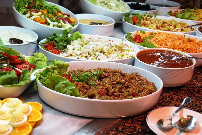 Various food in buffet royalty free stock photos