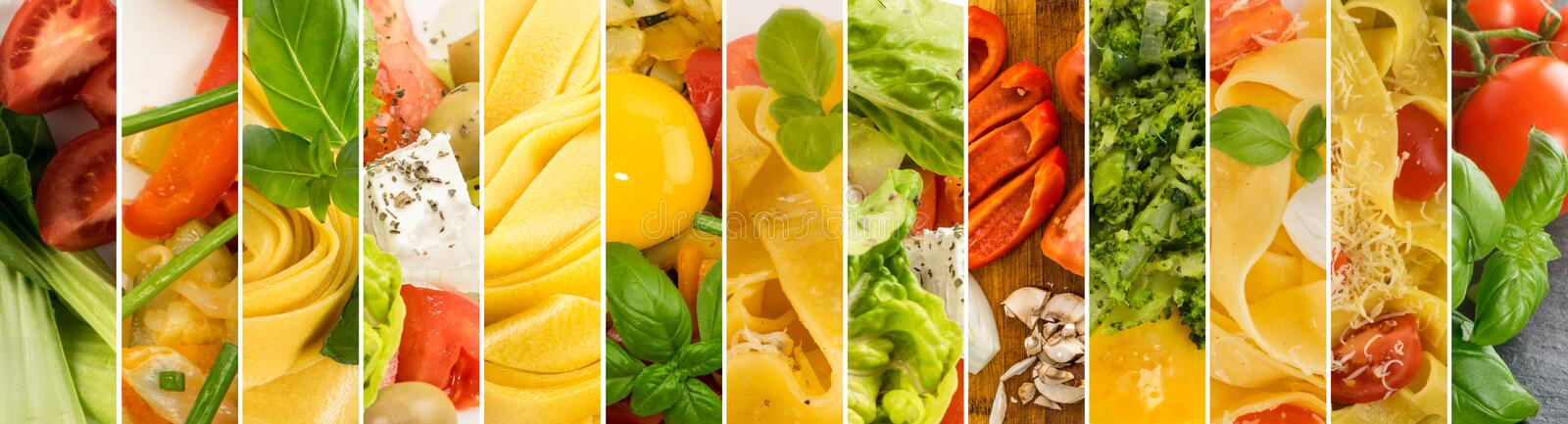 Various food collage with delicious burger, pasta and vegetables stock images