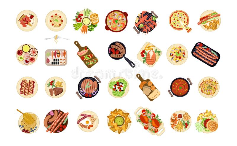 Various food dishes royalty free illustration