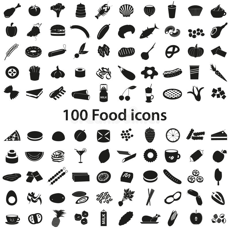 100 various food and drink black icons set stock illustration