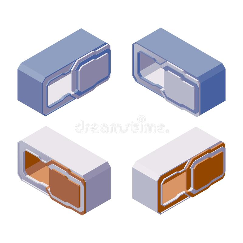 Various foreshortening of capsule hotel. Isometric vector collection with elements of modern backpacker guest house, isolated on vector illustration