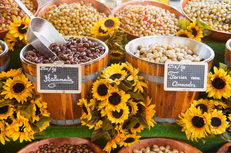 Various French olives royalty free stock photos