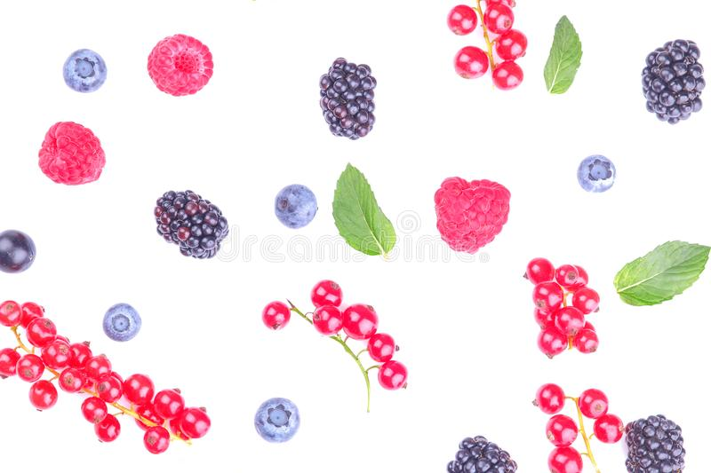 Various fresh berries close-up including blueberries, raspberries, blackberries and currants on a white background. isolated stock photography