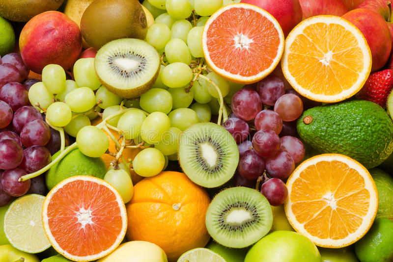 Various fresh fruits background for healthy royalty free stock image