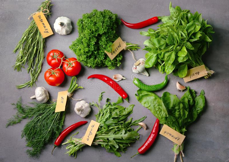 Various fresh herbs and vegetables royalty free stock image