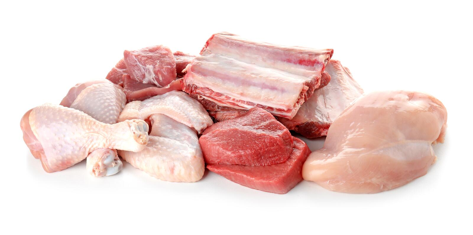 Various fresh raw meats on white stock images