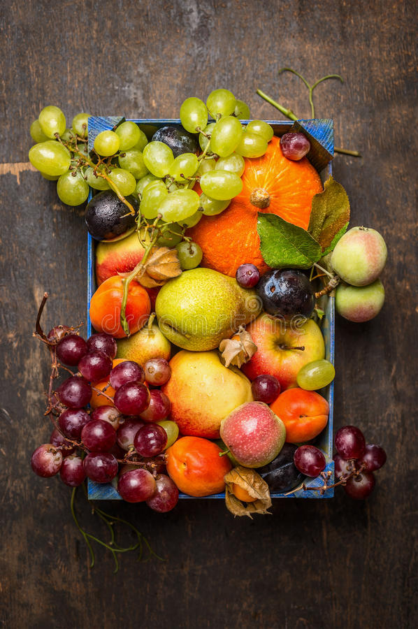 Various fresh sharvest fruits in a blue box on a dark wooden texture, top view stock photo
