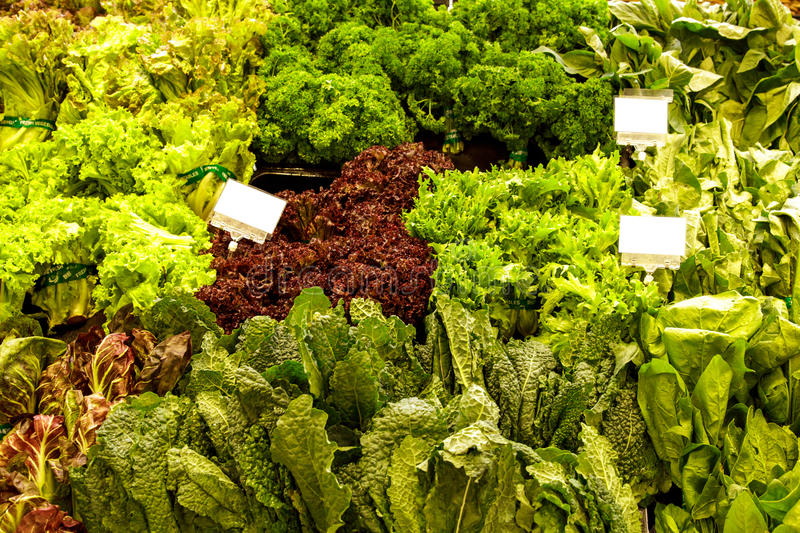 Various of fresh vegetables at grocery store royalty free stock image