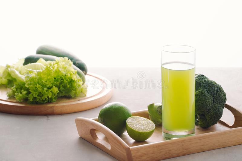 Various freshly squeezed vegetable juices for Fasting stock images