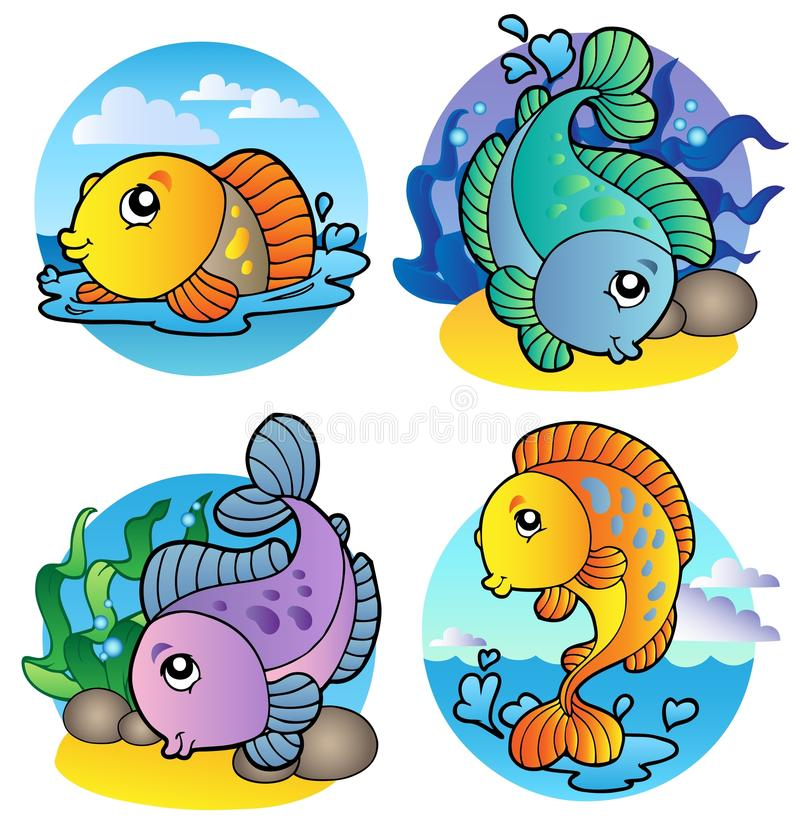 Various freshwater fishes 1. Illustration vector illustration