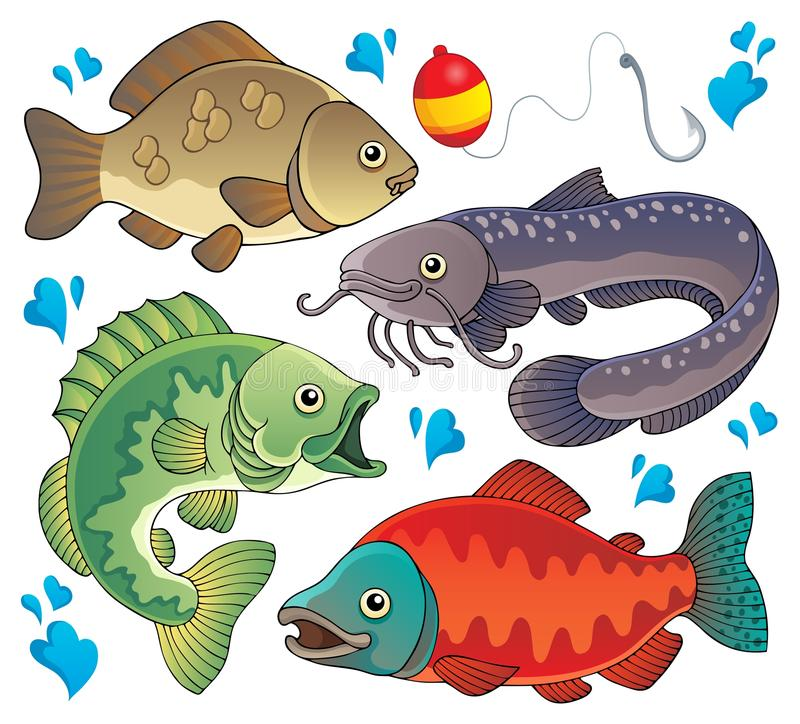 Various freshwater fishes 2. Vector illustration royalty free illustration