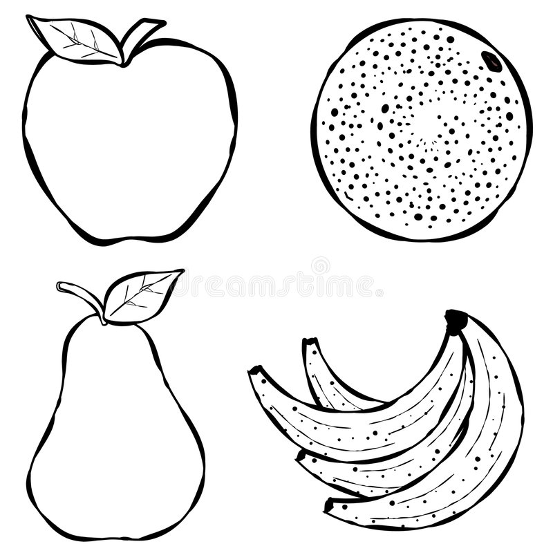 Line Art Fruits : Various fruit line art stock illustration of