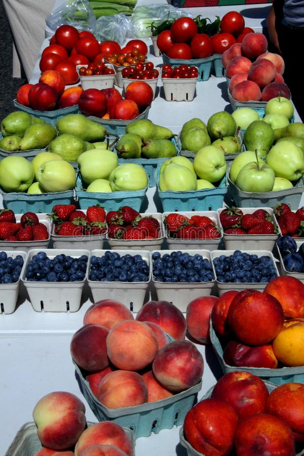 Various fruits in baskets stock photo