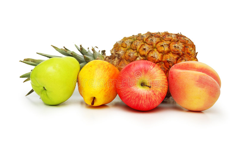 Various fruits isolated on the stock photo