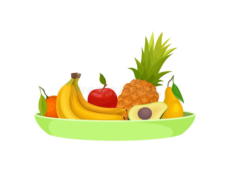 Various fruits on a plate. Vector illustration on white background. stock illustration