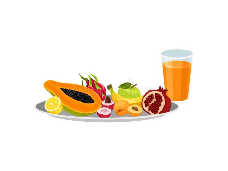 Various fruits on a round plate next to a glass of juice. Vector illustration. stock illustration