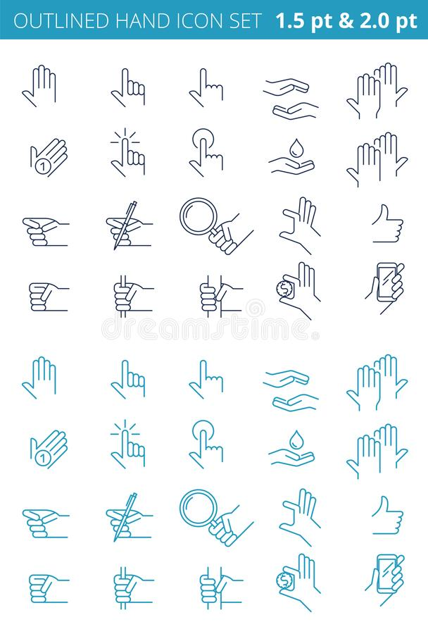 Various gestures of line human hands. Outlined icon set. vector illustration