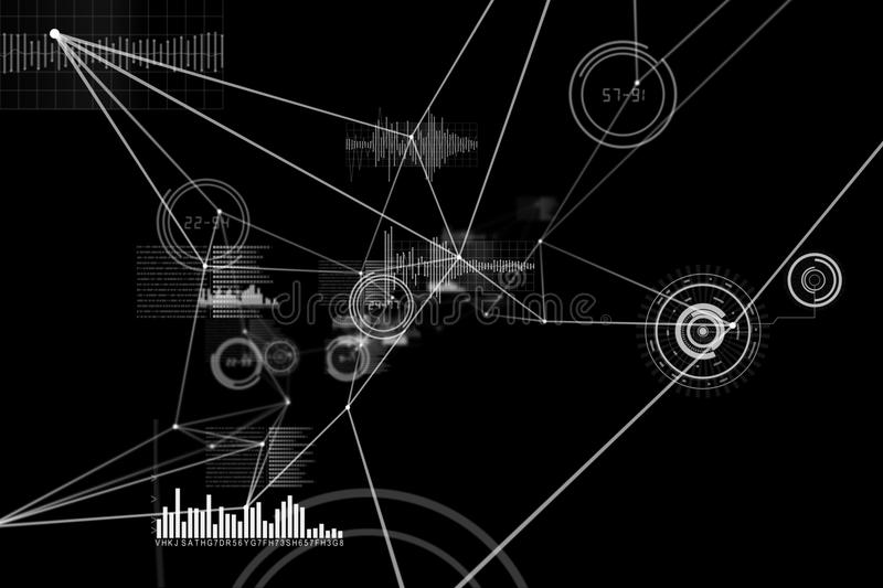 Various graphs and connectivity points. On black background stock illustration