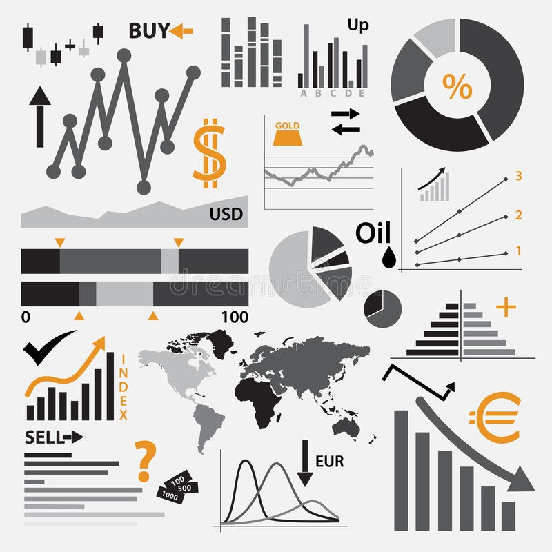 Various graphs for your business or stock market. Eps10 vector illustration