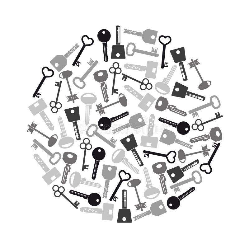 Various grayscale keys symbols for open a lock eps10. Various grayscale keys symbols for open a lock vector illustration