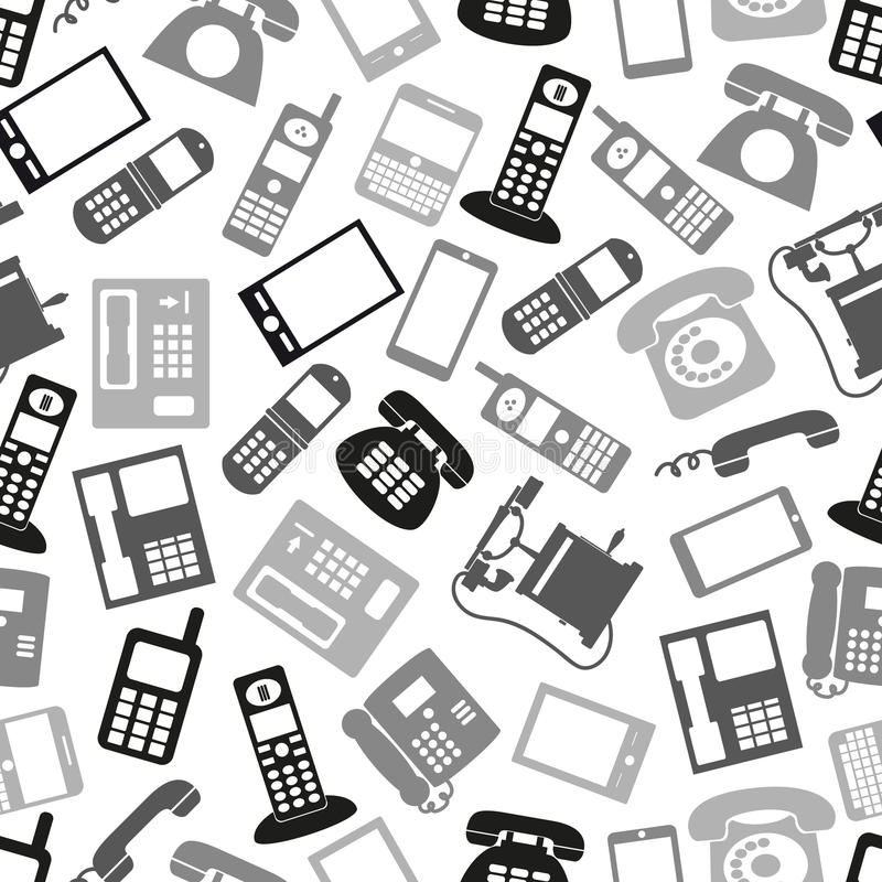 Various grayscale phone symbols. And icons seamless pattern vector illustration