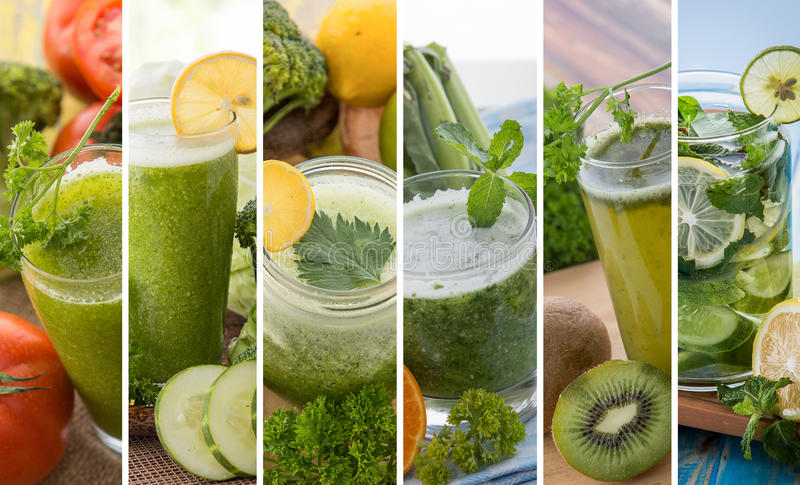 Various green color juices from mix tropical fruit royalty free stock photography