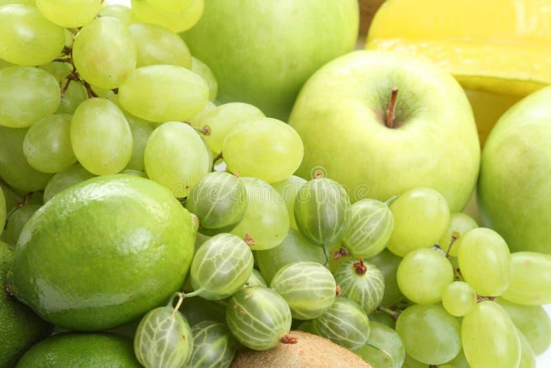 Various green fruits royalty free stock photo