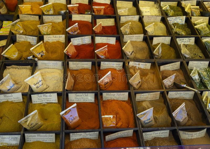 Various ground spices on sale in the Cours Saleya Market in the old town of Nice, France royalty free stock photography