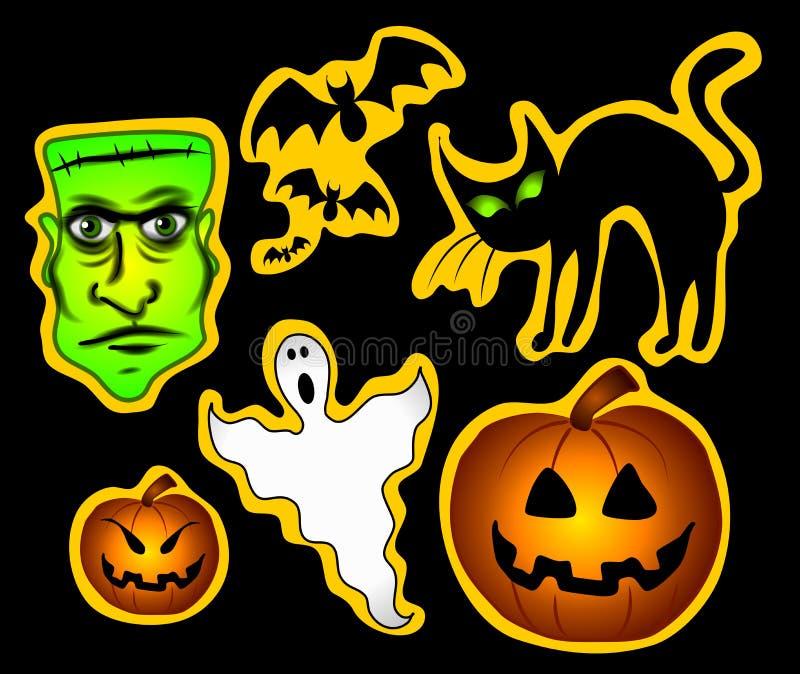 Various Halloween Clip Art vector illustration