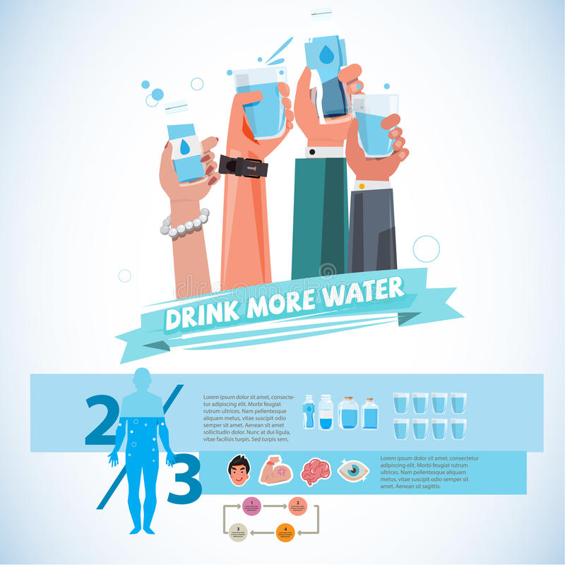 various Hands holding bottle and cup of drink water. healthy drink water concept - vector stock illustration