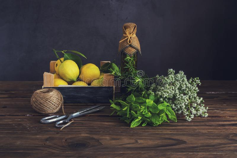 Various herbs, spices, lemons and olive oil on a wooden background. Various useful herbs and spices. Mint, oregano, rosemary, lemons and olive oil in a bottle stock photos