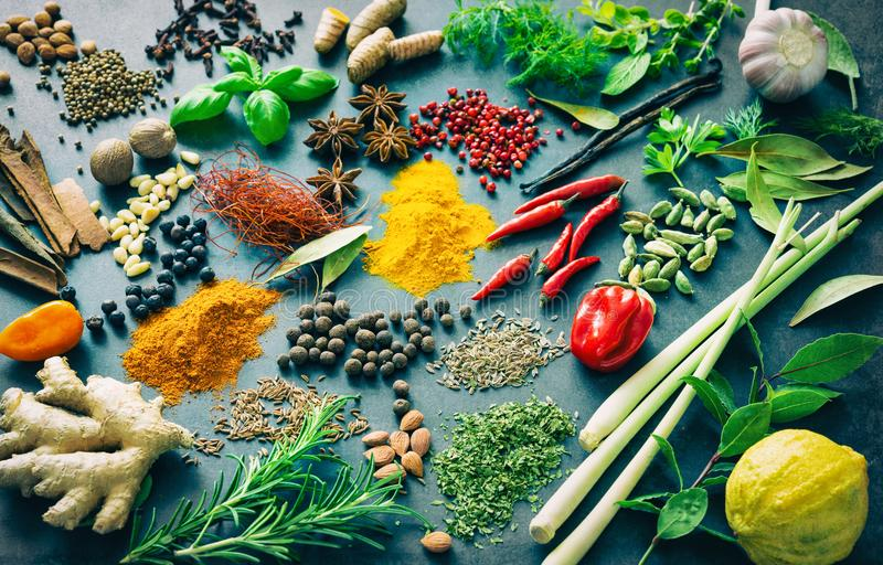 Various herbs and spices royalty free stock photos