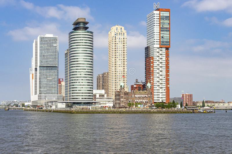 The various high buildings and the hotel New York on the peninsula at the Leuvenhaven in Rotterdam stock images