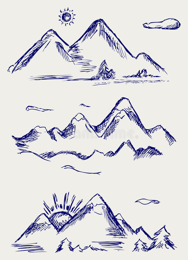 Download Various High Mountain Peaks Stock Vector - Image: 26595894